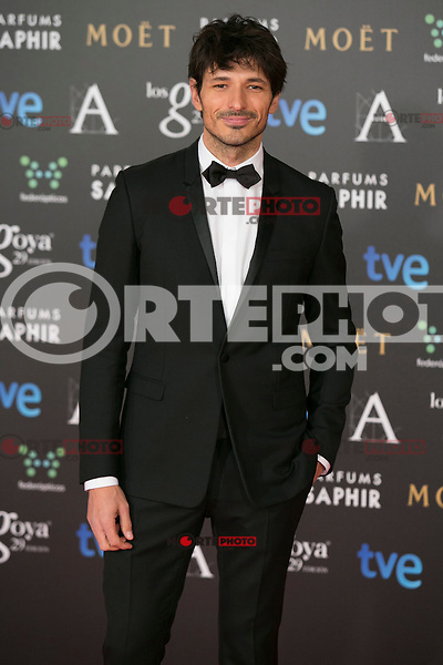 Andres Velencoso attend the 2015 Goya Awards at Auditorium Hotel, Madrid,  Spain. February 07, 2015.(ALTERPHOTOS/)Carlos Dafonte) /NORTEphoto.com