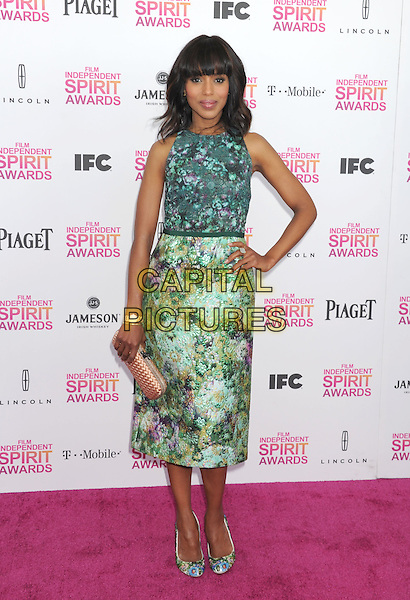 Kerry Washington.2013 Film Independent Spirit Awards - Arrivals Held At Santa Monica Beach, Santa Monica, California, USA,.23rd February 2013..indy indie indies indys full length green print dress shoes matching clutch bag hand on hip sleeveless floral .CAP/ROT/TM.©Tony Michaels/Roth Stock/Capital Pictures
