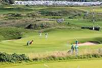 Colm Campbell (IRL) on the 15th green during the Afternoon Singles between Ireland and Wales at the Home Internationals at Royal Portrush Golf Club on Thursday 13th August 2015.<br /> Picture:  Thos Caffrey / www.golffile.ie