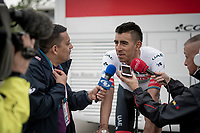 "Juan Sebastián Molano (COL/UAE-Team Emirates) interviewed by colombian press after stage 2 (Bologna to Fucecchio).<br /> 2 days later Molano would be taken out of the race by his team for ""unusual physiological results""...<br /> <br /> 102nd Giro d'Italia 2019<br /> <br /> ©kramon"