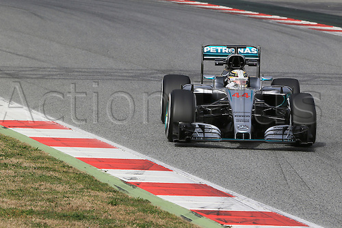 22.02.2016. Barcelona, Spain. Mercedes AMG Petronas F1 W07 Hybrid– Lewis Hamilton during the launch of the new cars for the upcoming Formula One season at the Circuit de Barcelona - Catalunya in Barcelona, Spain.