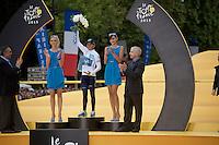 white jersey Nairo Quintana (COL/Movistar) on the podium<br /> <br /> stage 21: Sèvres - Champs Elysées (109km)<br /> 2015 Tour de France