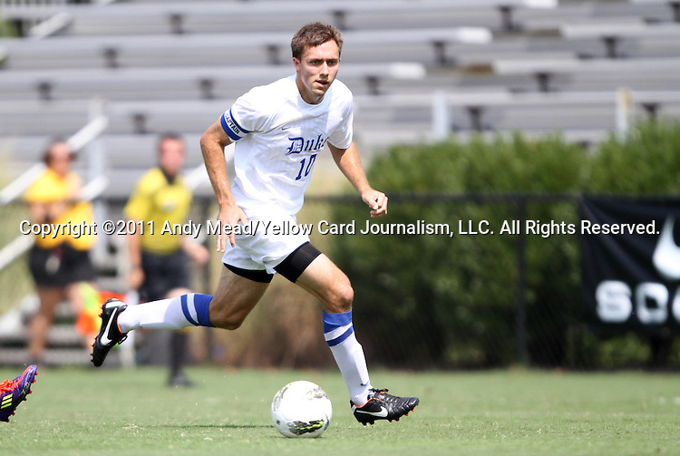 04 September 2011: Duke's Andrew Wenger. The Southern Methodist University Mustangs defeated the Duke University Blue Devils 1-0 in overtime at Koskinen Stadium in Durham, North Carolina in an NCAA Division I Men's Soccer game.