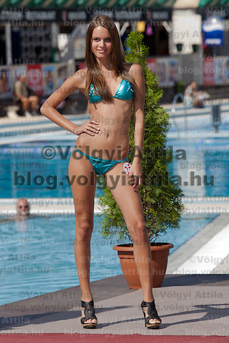 Bettina Balavaider participates the Miss Bikini Hungary beauty contest held in Budapest, Hungary on August 29, 2010. ATTILA VOLGYI