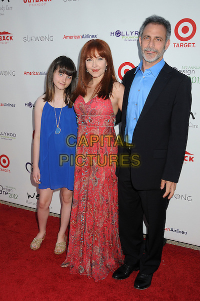 Amy Yasbeck & family .14th Annual DesignCare Benefit for the HollyRod Foundation held at a Private Residence,- Malibu, California, USA, .21 July 2012..full length red dress  print daughter husband .CAP/ADM/BP.©Byron Purvis/AdMedia/Capital Pictures.