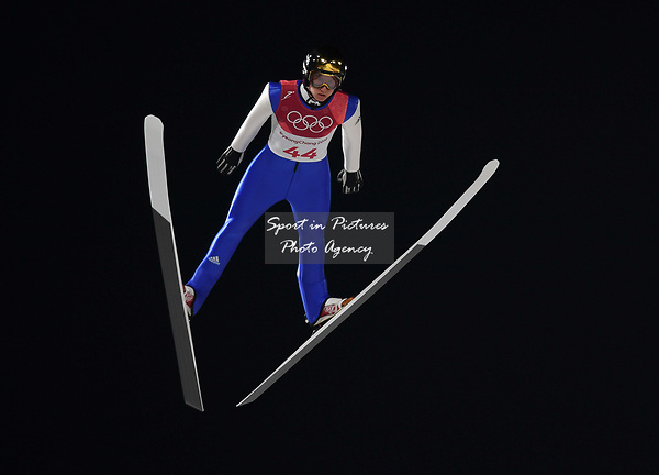 Karl Geiger (GER). Mens normal hill individual. Qualification. Ski jumping. Alpensia ski jump centre. Pyeongchang2018 winter Olympics. Alpensia. Pyeongchang. Republic of Korea. 08/02/2018. ~ MANDATORY CREDIT Garry Bowden/SIPPA - NO UNAUTHORISED USE - +44 7837 394578