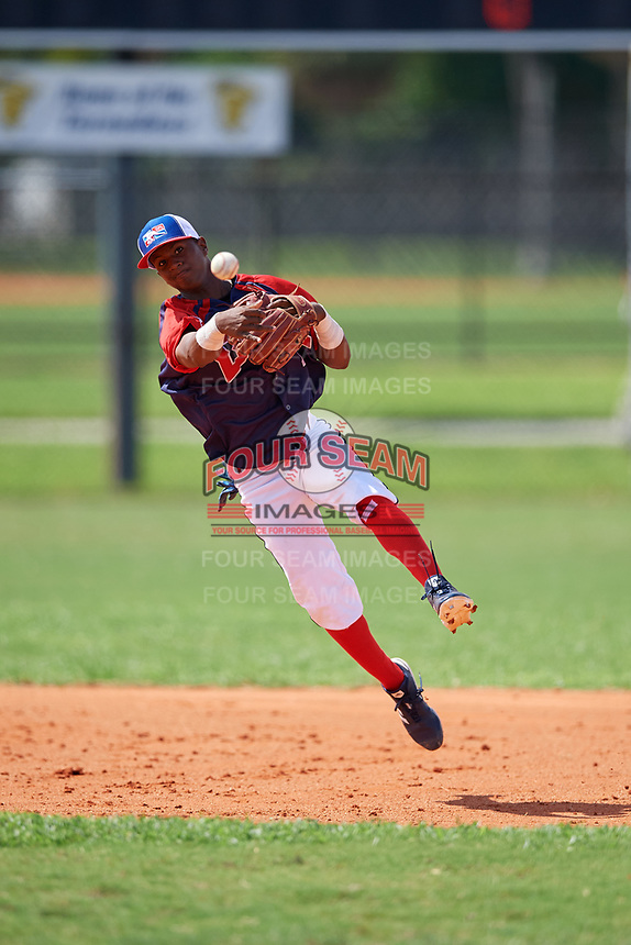 Felix Valera (1) during the Dominican Prospect League Elite Florida Event at Pompano Beach Baseball Park on October 14, 2019 in Pompano beach, Florida.  (Mike Janes/Four Seam Images)