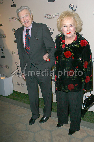 Warren Stevens and Doris Roberts  arrive  at the The Academy of Television Arts Sciences Hall Fame Ceremony