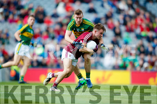 James O'Donoghue Kerry in action against Eoghan Kerin Galway in the All Ireland Senior Football Quarter Final at Croke Park on Sunday.