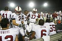 1 October 2006: Nick Sanchez, Chris Hobbs, and Carlos McFall congratulate David Lofton during Stanford's 31-0 loss to UCLA at the Rose Bowl in Pasadena, CA.