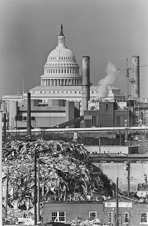 Garbage dump-view of South East side of Capitol Hill from Frederick Douglass Memorial Bridge over Anacostia River on Feb. 6, 1997. (Photo by Laura Patterson/CQ Roll Call via Getty Images)