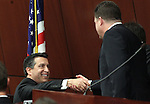 Governor Brian Sandoval greets Assembly Speaker John Oceguera, D-Las Vegas, prior to Monday's State of the State address, Jan. 24, 2011, at the Legislature in Carson City, Nev. .Photo by Cathleen Allison