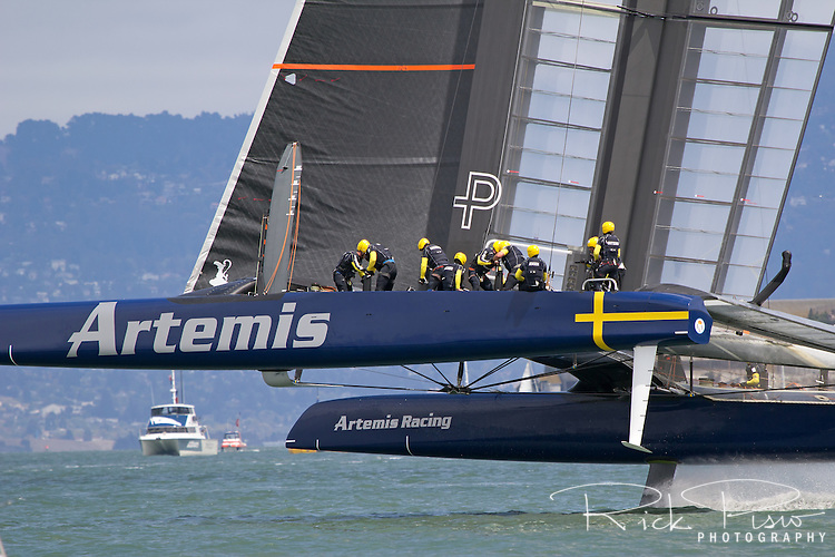 The Team Artemis catamaran representing the Royal Swedish Yacht Club sails on San Francisco Bay during the 2013 Americas Cup competition.
