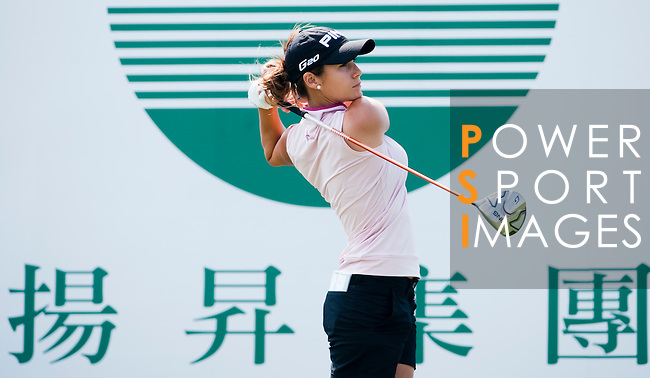 TAOYUAN, TAIWAN - OCTOBER 22: Azahara Munoz of Spain tees off on the 1st hole during day three of the LPGA Imperial Springs Taiwan Championship at Sunrise Golf Course on October 22, 2011 in Taoyuan, Taiwan. Photo by Victor Fraile / The Power of Sport Images