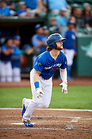 Andrew Shaps (17) of the Ogden Raptors runs to first base during a game against the Idaho Falls Chukars at Lindquist Field on August 29, 2018 in Ogden, Utah. Idaho Falls defeated Ogden 15-6. (Stephen Smith/Four Seam Images)