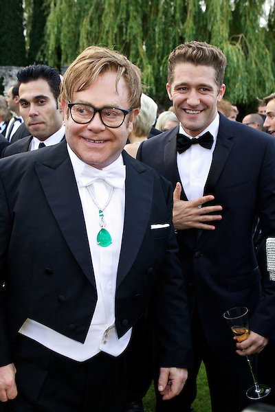 Elton John and Matthew Morrison the White Tie and Tiara Ball