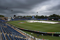 Gloomy overhead at Sophia Gardens, with the ground staff busy mopping up and the covers on before Afghanistan vs Sri Lanka, ICC World Cup Cricket at Sophia Gardens Cardiff on 4th June 2019