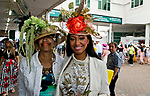 LOUISVILLE, KY - MAY 05: Two women pose for a photo on Kentucky Derby Day at Churchill Downs on May 5, 2018 in Louisville, Kentucky. (Photo by Eric Patterson/Eclipse Sportswire/Getty Images)
