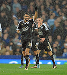 Riyad Mahrez of Leicester City celebrates scoring the opening goal of the game<br /> - Barclays Premier League - Everton vs Leicester City - Goodison Park - Liverpool - England - 19th December 2015 - Pic Robin Parker/Sportimage