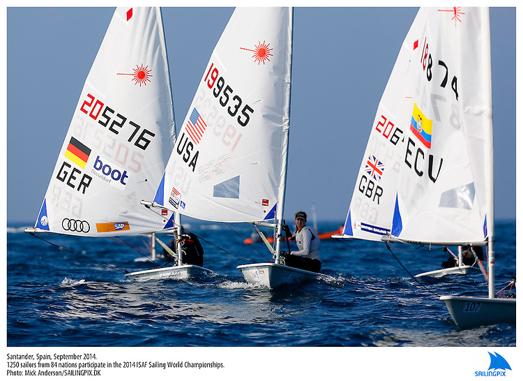 20140912, Santander, Spain: 2014 ISAF SAILING WORLD CHAMPIONSHIPS - More than 1,250 sailors in over 900 boats from 84 nations will compete at the Santander 2014 ISAF Sailing World Championships from 8-21 September 2014. The best sailing talent will be on show and as well as world titles being awarded across ten events 50% of Rio 2016 Olympic Sailing Competition places will be won based on results in Santander. Sailor(s): Laser Radial - USA199535 - Christine NEVILLE. Photo: Mick Anderson/SAILINGPIX.DK. Keywords: Sailing, water, sport, ocean, boats, olympic, dinghy, dinghies, crew, team, sail. Filename: SailingWorlds2014_MICK-3137.jpg.