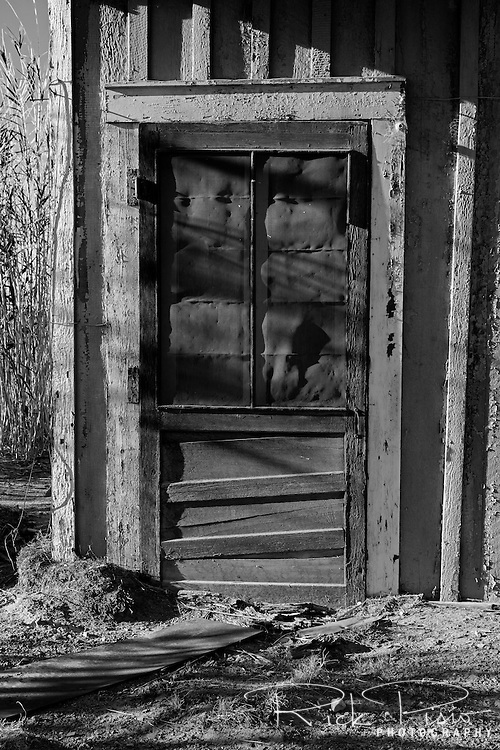 Weathered door at the Keeler Railroad Depot in Keeler, California. Keeler was the end of the line for the now abandoned Carson and Colorado Railroad.