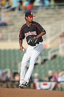 Kannapolis Intimidators starting pitcher Luis Martinez (43) in action against the West Virginia Power at Intimidators Stadium on July 3, 2015 in Kannapolis, North Carolina.  The Intimidators defeated the Power 3-0 in a game called in the bottom of the 7th inning due to rain.  (Brian Westerholt/Four Seam Images)