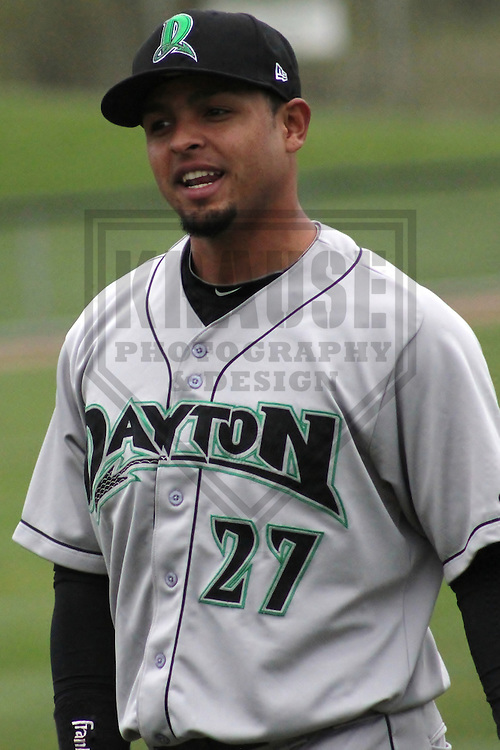 APPLETON - April 2012: Juan Silva (27) of the Dayton Dragons, Class-A affiliate of the Cincinnati Reds, during a game against the Wisconsin Timber Rattlers on April 25, 2012 at Time Warner Cable Field at Fox Cities Stadium in Appleton, Wisconsin. (Photo by Brad Krause).