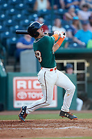 Will Banfield (18) of the Greensboro Grasshoppers hits his first professional home run during the game against the West Virginia Power at First National Bank Field on August 9, 2018 in Greensboro, North Carolina. The Power defeated the Grasshoppers 5-3 in game one of a double-header. (Brian Westerholt/Four Seam Images)