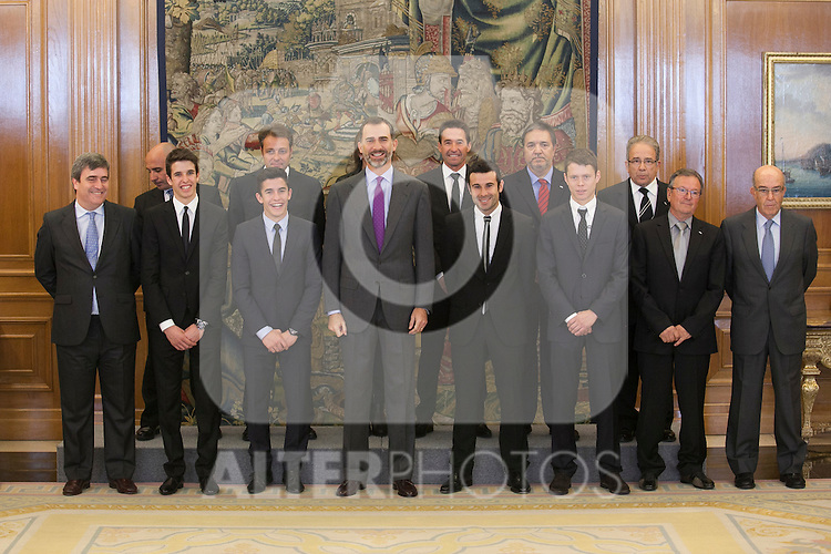 King Felipe VI of Spain receives moto riders Marc Marquez, Alex Marquez, Steve Rabat and Toni Bou during Royal Audience at Zarzuela Palace in Madrid, Spain. November 20, 2014. (ALTERPHOTOS/Victor Blanco)