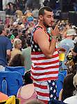 Detail of a member of the audience during a performance of, John Russo's Almost Dead, at Mountain Jam Music Festival of 2015, in Hunter, NY on Friday June 5, 2015. Photo by Jim Peppler. Copyright Jim Peppler 2015.