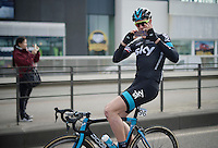 Ian Stannard (GBR/Sky) snapping a pic for the SKY Instagram feed before the actual start of the race<br /> <br /> 103rd Scheldeprijs 2015