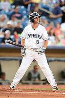 Lake County Captains third baseman Paul Hendrix (8) at bat during a game against the Fort Wayne TinCaps on August 21, 2014 at Classic Park in Eastlake, Ohio.  Lake County defeated Fort Wayne 7-8.  (Mike Janes/Four Seam Images)