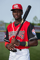 Eric Jenkins (5) of the Hickory Crawdads poses for a photo prior to the game against the Lexington Legends at L.P. Frans Stadium on April 29, 2016 in Hickory, North Carolina.  The Crawdads defeated the Legends 6-2.  (Brian Westerholt/Four Seam Images)