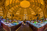 The immense central dome of The Central Market (Psar Thmei), is an Art Deco building erected by teh French in 1937; Phnom Penh, Cambodia.