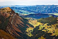 Rural countryside viewed from Pilatus Mountain, near Lucerne, Switzerland