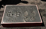 HOLLYWOOD, CA - JULY 07: Christopher Nolan's hand and footprints in cement at the Christopher Nolan Hand & Footprint Ceremony At Grauman's Chinese Theatre on July 7, 2012 in Hollywood, California.