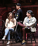 """Eliza Ohman, David Guzman and Ryan Vasquez from the 'Hamilton' cast during a Q & A before The Rockefeller Foundation and The Gilder Lehrman Institute of American History sponsored High School student #EduHam matinee performance of """"Hamilton"""" at the Richard Rodgers Theatre on June 6, 2018 in New York City."""