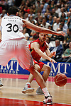 Real Madrid´s Bourousis and CAI Zaragoza´s Llompart (R) during 2013-14 Liga Endesa basketball match at Palacio de los Deportes stadium in Madrid, Spain. May 30, 2014. (ALTERPHOTOS/Victor Blanco)