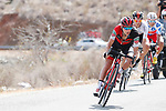 The breakaway group led by Richie Porte (AUS) BMC, Jorge Cubero (ESP) Burgos-BH and Polka Dot Jersey Luis Angel Mate Mardones (ESP) Cofidis descending during Stage 6 of the La Vuelta 2018, running 150.7km from Hu&eacute;rcal-Overa to San Javier, Mar Menor, Sierra de la Alfaguara, Andalucia, Spain. 30th August 2018.<br /> Picture: Unipublic/Photogomezsport | Cyclefile<br /> <br /> <br /> All photos usage must carry mandatory copyright credit (&copy; Cyclefile | Unipublic/Photogomezsport)