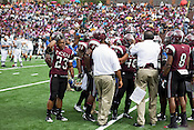 NCCU Defensive Back David Ingram during a huddle against Morehead State, who defeated North Carolina Central University 13-10 with a 45-yard field goal on the final play of double overtime at O'Kelly-Riddick Stadium in Durham, N.C. on Saturday, Sept. 19, 2009.