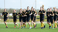 20180303 - LARNACA , CYPRUS :  illustration picture shows the group warming up during a Matchday -2 training from The Belgian Red Flames prior to their game against Austria , on Saturday 3 March 2018 at the Alpha Sports Grounds in Larnaca , Cyprus . This will be the third game in group B for Belgium during the Cyprus Womens Cup , a prestigious women soccer tournament as a preparation on the World Cup 2019 qualification duels. PHOTO SPORTPIX.BE | DAVID CATRY