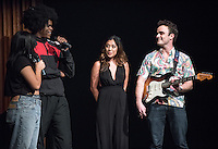 Apollo Night hosts Nina Reynoso '16 and Chance Ward '18 introduce Janine Penafort '16 and Angus McDonald '16. Occidental College students perform and compete during Apollo Night, one of Oxy's biggest talent showcases, on Friday, Feb. 26, 2016 in Thorne Hall. Sponsored by ASOC, hosted by the Black Student Alliance as part of Black History Month.<br /> (Photo by Marc Campos, Occidental College Photographer)