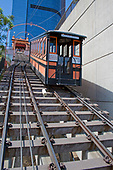 Angels Flight Funicular Railway runs between Hill Street and California Plaza, The fare is 25 cents and has two cable cars named Sinai and Olivet. Bunker Hill, downtown Los Angeles, California, USA