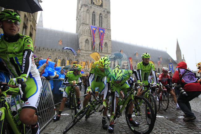 Cannondale riders on the start line in Ypres before the start of the cobbled stage Stage 5 of the 2014 Tour de France running 155.5km from Ypres to Arenberg. 9th July 2014.<br /> Picture: Eoin Clarke www.newsfile.ie