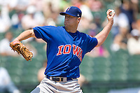 Iowa Cubs starting pitcher JR Mathes (33) delivers against the Round Rock Express on April 10th, 2011 at Dell Diamond in Round Rock, Texas.  (Photo by Andrew Woolley / Four Seam Images)
