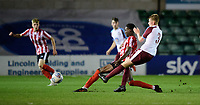 South Shieldsy U18's Joe Lockey is tackled by Lincoln City U18's Jordan Adebayo-Smith<br /> <br /> Photographer Chris Vaughan/CameraSport<br /> <br /> The FA Youth Cup Second Round - Lincoln City U18 v South Shields U18 - Tuesday 13th November 2018 - Sincil Bank - Lincoln<br />  <br /> World Copyright © 2018 CameraSport. All rights reserved. 43 Linden Ave. Countesthorpe. Leicester. England. LE8 5PG - Tel: +44 (0) 116 277 4147 - admin@camerasport.com - www.camerasport.com