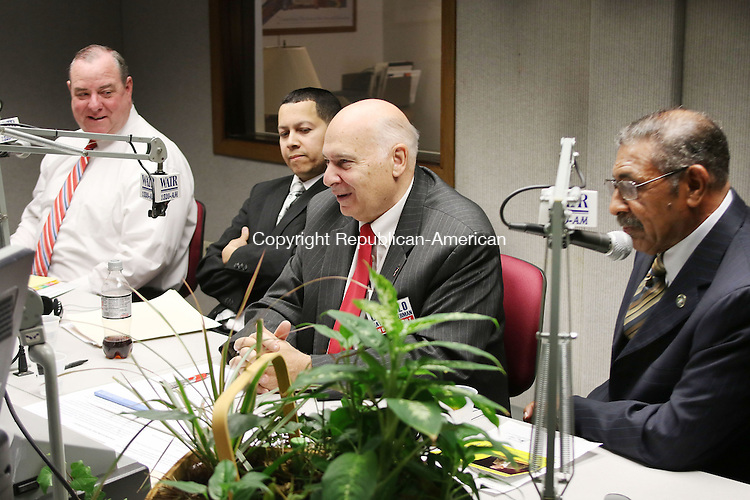WATERBURY CT. 26 October 2015-102715SV02-From left, Democrat Mayor Neil O&rsquo;Leary, Republican mayoral candidate Jose Morales, Independent Lawrence V. De Pillo, and petitioning candidate Jimmie Griffin debate questions on WATR radio in Waterbury Tuesday. <br /> Steven Valenti Republican-American