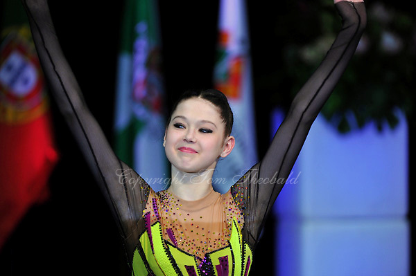 "Alina Maksymenko of Ukraine celebrates winning ""Miss Elegance"" award at 2010 World Cup at Portimao, Portugal on March 14, 2010.  (Photo by Tom Theobald)."
