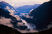 Looking down onto Doubtful Sound & Wanganella Cove from Wilmot Pass, Fiordland National Park, South Island, New Zealand.