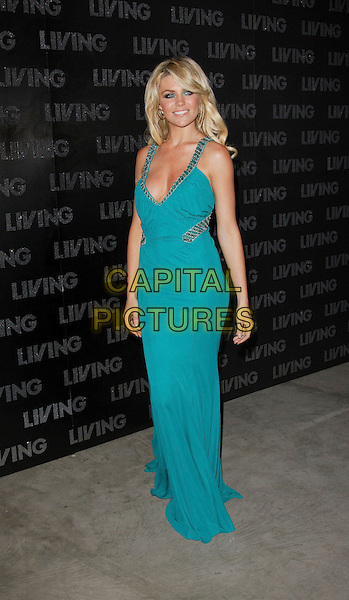 ABBY CLANCY.Living TV - Summer Schedule Launch Old Truman Brewery, Brick Lane, London, England..May 10th, 2007.abigail abbey full length dress low cut plunging neckline turquoise green cleavage.CAP/ROS.©Steve Ross/Capital Pictures
